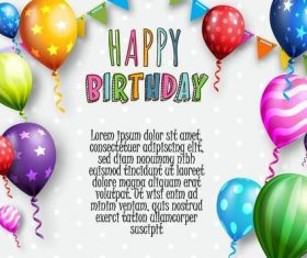 Birthday background with balloons confetti vector
