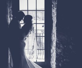 Black and white Retro wedding photos Stock Photo