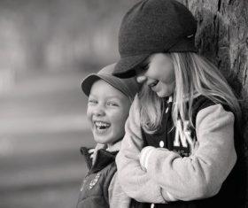 Black and white photo of happy children Stock Photo