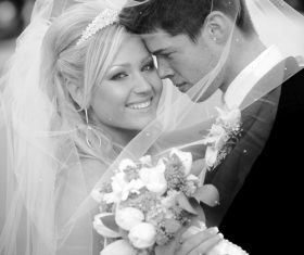 Black and white wedding photos Stock Photo