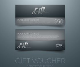 Black gift vouchers card template vector 01