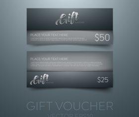 Black gift vouchers card template vector 01