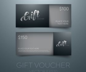 Black gift vouchers card template vector 02