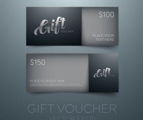 Black gift vouchers card template vector 02