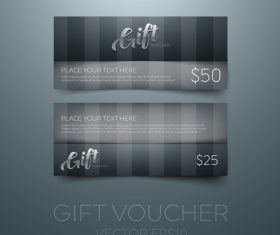 Black gift vouchers card template vector 03