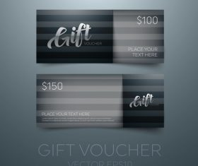 Black gift vouchers card template vector 04