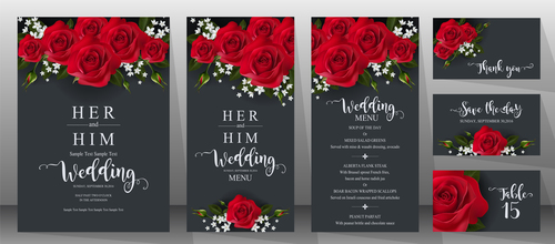 Black wedding invitation cards with red rose vector