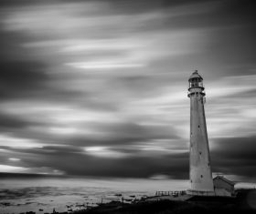 Black white picture of ancient lighthouse architecture Stock Photo