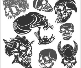 Blakc white skull head pattern for tattoos with t-shirt vector 01