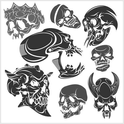 Blakc white skull head pattern for tattoos with t shirt vector 01