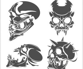 Blakc white skull head pattern for tattoos with t-shirt vector 02