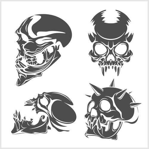 Blakc White Skull Head Pattern For Tattoos With T Shirt Vector 02