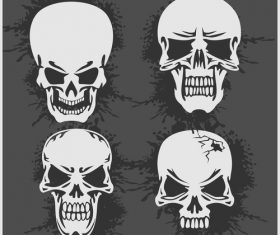 Blakc white skull head pattern for tattoos with t-shirt vector 03