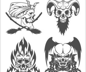 Blakc white skull head pattern for tattoos with t-shirt vector 04