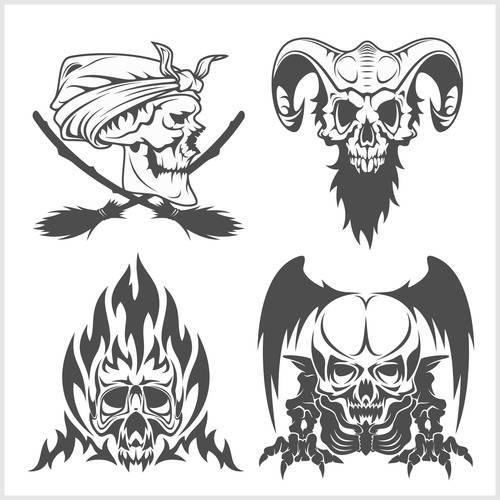 Blakc white skull head pattern for tattoos with t shirt vector 04