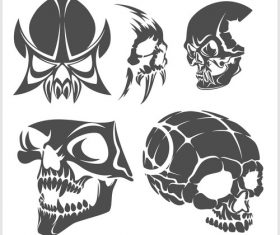 Blakc white skull head pattern for tattoos with t-shirt vector 05