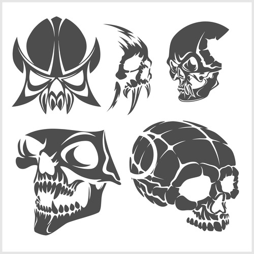 Blakc white skull head pattern for tattoos with t shirt vector 05