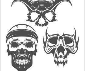 Blakc white skull head pattern for tattoos with t-shirt vector 06