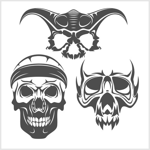 Blakc white skull head pattern for tattoos with t shirt vector 06
