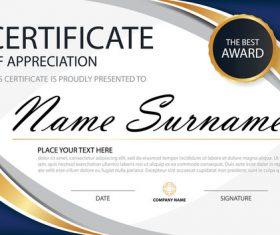 Blue certificate template design vectors 01