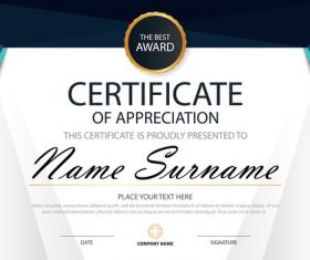 Blue certificate template design vectors 02