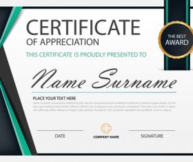 Blue certificate template design vectors 03