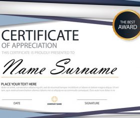 Blue certificate template design vectors 04