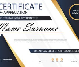Blue certificate template design vectors 05