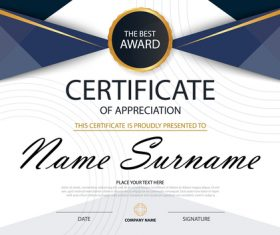 Blue certificate template design vectors 06