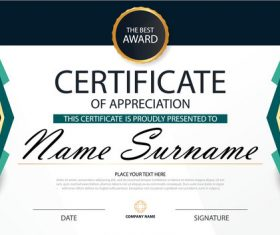 Blue certificate template design vectors 07