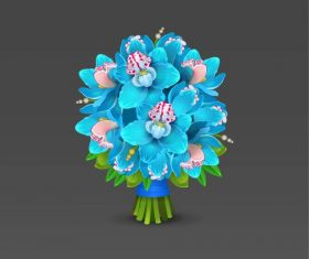 Blue orchid bouquet vector