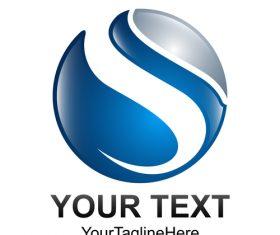 Blue spherical logo design vector 03