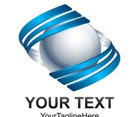 Blue spherical logo design vector 05