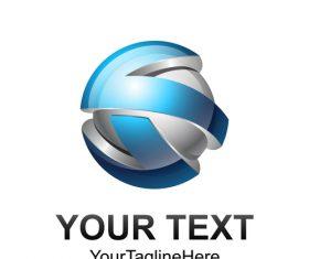 Blue spherical logo design vector 06