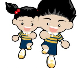 Boy and girl running vector