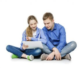 Boys and girls using tablet pc Stock Photo 01