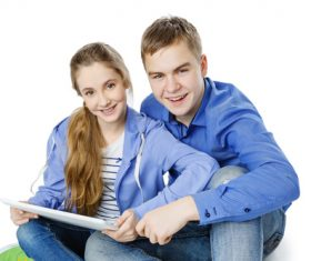 Boys and girls using tablet pc Stock Photo 03