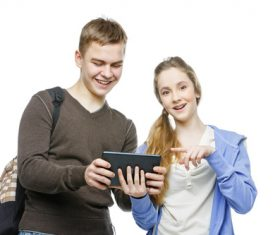 Boys and girls using tablet pc Stock Photo 04