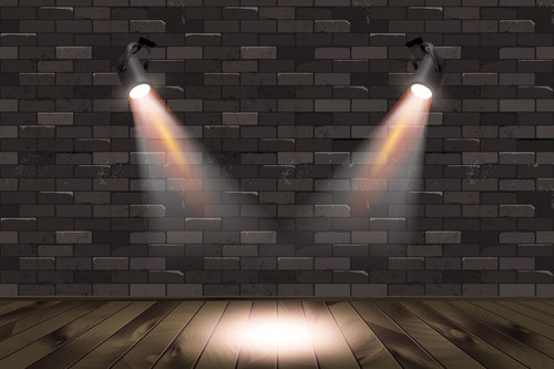 Brick wall with bulb light background vectors