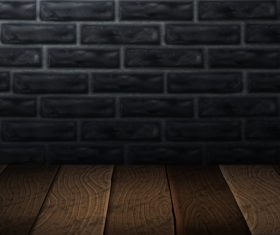Brick wall with wooden board background vector