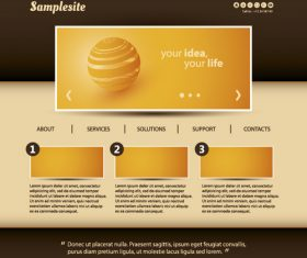 Brown styles website template vector