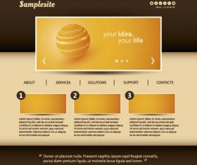 Brown styles website template vector
