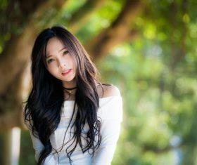 Brunette elegant asian woman Stock Photo