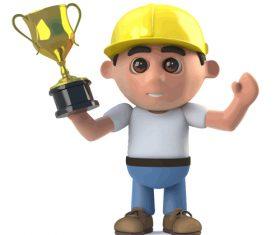 Builder goldcup cartoon vector