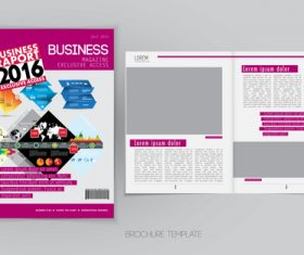 Business magazine cover with page vector template 01