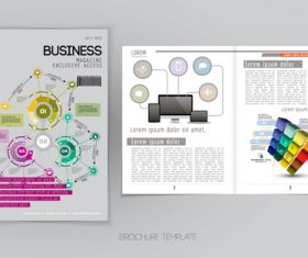 Business magazine cover with page vector template 03