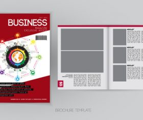 Business magazine cover with page vector template 04