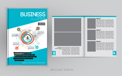 Business Magazine Cover With Page Vector Template 05 Free Download
