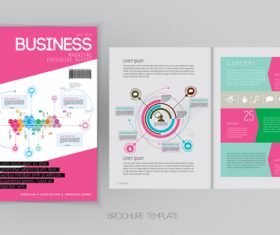 Business magazine cover with page vector template 07