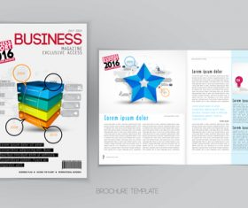 Business magazine cover with page vector template 10